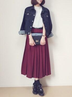 MAYUKOさんの「ミモレプリーツスカート(jouetie)」を使ったコーディネート