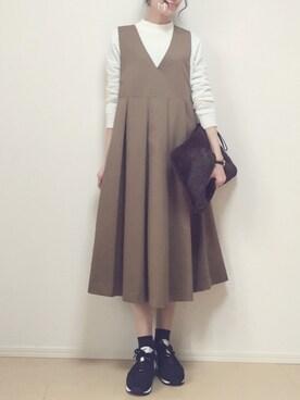 MAYUKOさんのワンピース「KBF BIGプリーツジャンパースカート(KBF ケイビーエフ)」を使ったコーディネート
