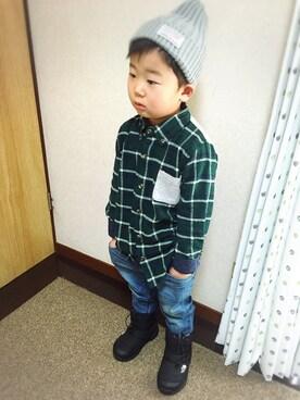 haaaruさんの「【ジュニアサイズ対応】リブ付き テーパードデニム(Lee|リー)」を使ったコーディネート