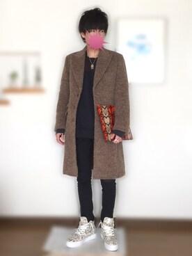 アザミさんの「◆30th記念コラボTAISHI NOBUKUNI アルパカシャギーコート(TAKEO KIKUCHI)」を使ったコーディネート