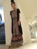 「Sisley Printed Maxi Dress with Belt(Sisley)」 using this kyoto1 looks