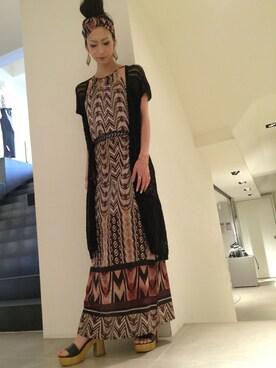 「Sisley Printed Maxi Dress with Belt(Sisley)」 using this SISLEY 京都店|kyoto1 looks