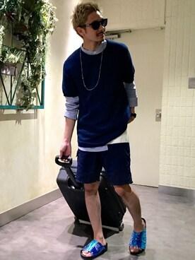 FREAKS STORE 新宿メンズ店|藤井 悠大さんの「BANDCOLLAR HALF PLAKET SHIRTS(FREAK'S STORE)」を使ったコーディネート