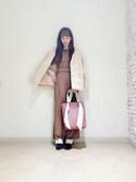 numao ayumiさんの「≪soup12月号掲載≫≪MORE10月号掲載深田恭子さん着用≫パフスリーブコンビネゾン(FURFUR ファーファー)」を使ったコーディネート