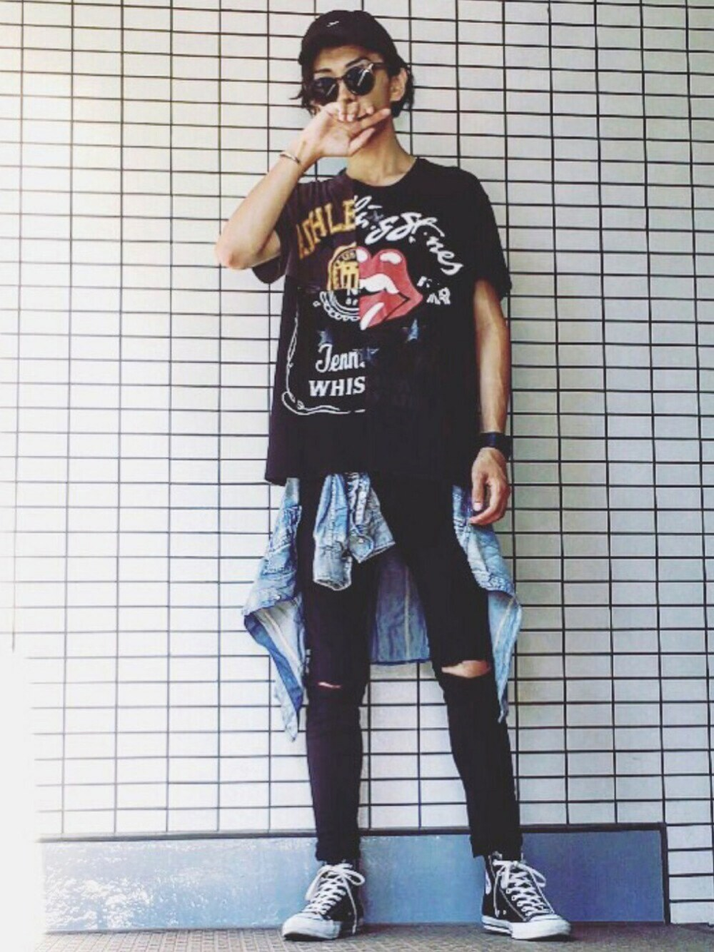 ビンテージ,バンドTシャツ,着こなし,コーディネート,メンズ,画像