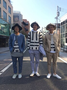 RAGEBLUE立川ルミネ店|ISSEYさんの「ノーカラーストライプカーデ/717481(RAGEBLUE)」を使ったコーディネート