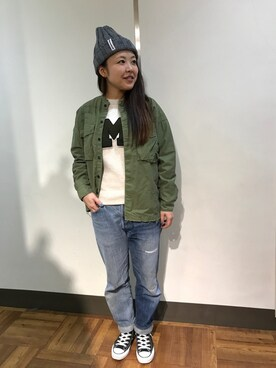 BEAVER渋谷店|もぎもぎ。さんの「MANASTASH/マナスタッシュ 90's LOGO BEANIE/ニットキャップ (617)(MANASTASH)」を使ったコーディネート