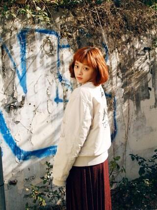 荒井愛花さんの「JAPAN刺繍MA-1(jouetie|ジュエティ)」を使ったコーディネート