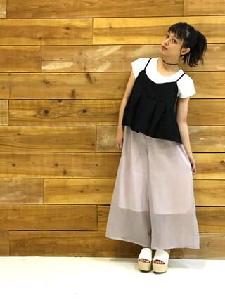 荒井愛花さんの「ウエッジソールサボサンダル(fifth|フィフス)」を使ったコーディネート