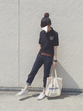 AMARIさんの「【SPECIAL PRICE】The Wonderful! design works. / 15SS SUNGLASS BEAR ポロシャツ(BEAMS T)」を使ったコーディネート