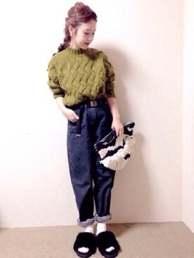 N☻Riiさんの「Lirica Cross Knit Pullover(ROSSO)」を使ったコーディネート