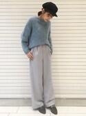 satsukiさんの「【CLASSY11月号掲載】サキソニーウールワイドパンツ 730163(apart by lowrys|アパートバイローリーズ)」を使ったコーディネート
