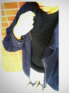 猫山さんの「MEN ヒートテックケーブルクルーネックセーター(長袖)(ユニクロ)」を使ったコーディネート