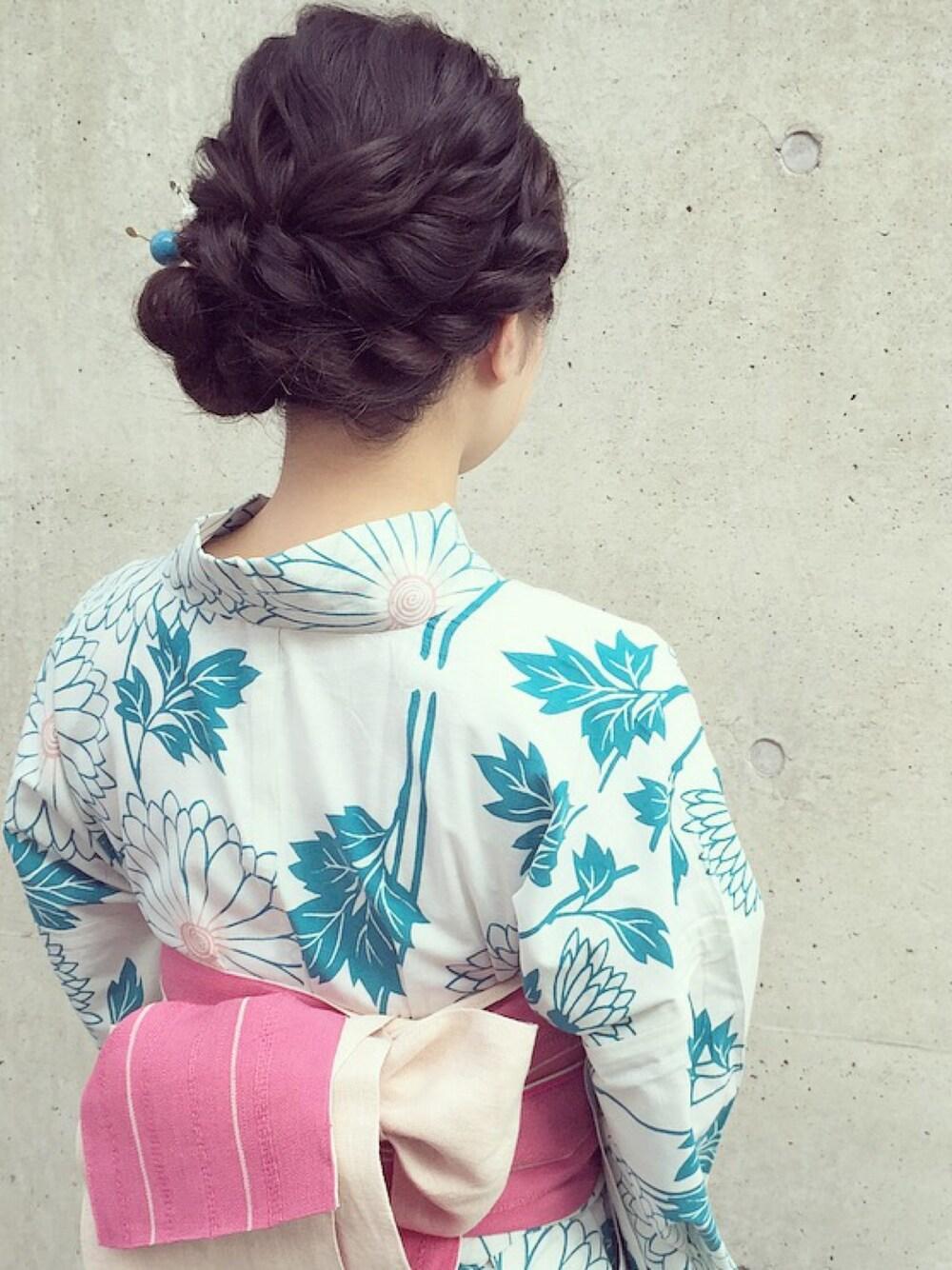結婚式に振袖で参列 三つ編みアップヘア