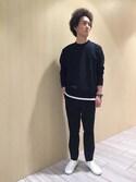 Hiromitsuさんの「ポエステルレーヨン梨地スラックスイージーパンツ(ADAM ET ROPE'|アダム エ ロペ)」を使ったコーディネート