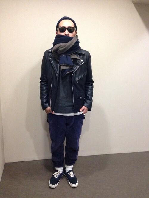 TAKAHIROさんのライダースジャケット「VANSON EDIFICE別注 VANSON ライダース」を使ったコーディネート