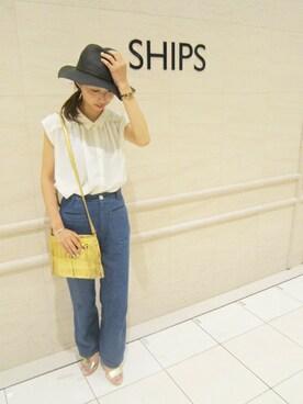 SHIPS アミュプラザ博多店|森さんの「コットンリネンワンウォッシュデニムワイドパンツ(SHIPS for women)」を使ったコーディネート