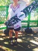 mihoさんの「【PLAIN CLOTHING】刺繍チュニック(PLAIN CLOTHING|プレーンクロージング)」を使ったコーディネート