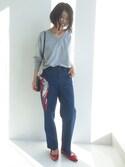 chca_さんの「【シルク100%】IEDITレーベルコレクション シックな装いを彩る 繊細クラシカルプリントのシルクスカーフ(IEDIT|イディット)」を使ったコーディネート