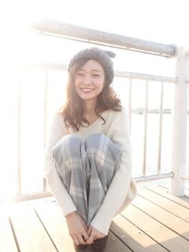 西川 瑞希さんの「Federicamoretti:リボンニットキャップ(Khaju)」を使ったコーディネート