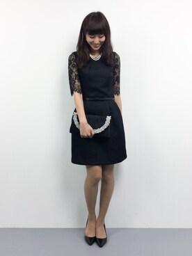 ZOZOTOWN|Mirei❤︎さんの「【Dress Lab×平子理沙】袖レースベルト付パーティードレス(DRESS LAB)」を使ったコーディネート