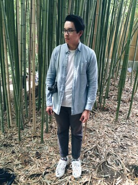 「Indigo Japanese chambray shirt(J.CREW)」 using this An Tran looks