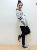 X-girl ���bSHOKO�����T�V���c/�J�b�g�\�[�uSTRIPE NUMBER TOP�iX-girl�b�G�b�N�X�K�[���j�v���g�����R�[�f�B�l�[�g