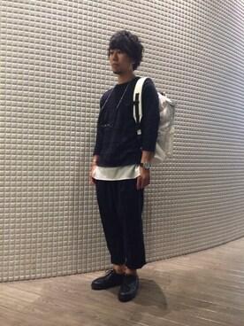 RAGEBLUE名古屋パルコ店|はぎさんの「ウインドーペンニット7分袖/567798(RAGEBLUE)」を使ったコーディネート