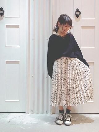 Sa-riさんの「花柄プリーツスカート(archives|アルシーヴ)」を使ったコーディネート