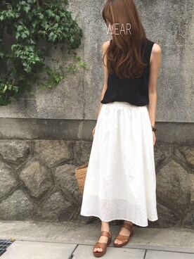 Sato*さんの「WOMEN UVカットノースリーブセーター(UNIQLO ユニクロ)」を使ったコーディネート