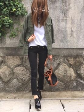 Sato*さんの「バイカラー巾着ショルダーバッグ【PLAIN CLOTHING】(PLAIN CLOTHING|プレーンクロージング)」を使ったコーディネート