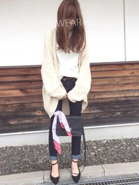 Sato*さんの「サカリバスリットフレアー袖ボトルネックTシャツ(mysty woman|ミスティウーマン)」を使ったコーディネート