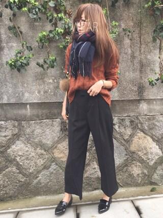 Sato*さんの「手編み風ケーブルクルーネックニット(mysty woman|ミスティウーマン)」を使ったコーディネート