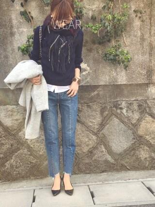Sato*さんの「スライバーニットVネックカラーコート(mysty woman|ミスティウーマン)」を使ったコーディネート