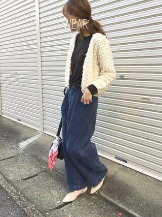 Sato*さんの「コーデュロイタックワイドパンツ(mysty woman|ミスティウーマン)」を使ったコーディネート