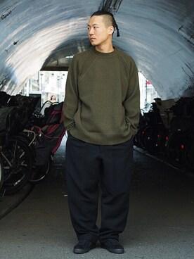Revelations/|Hikimaさんの「YASHIKI Yukitsuri Knit(Revelations/)」を使ったコーディネート