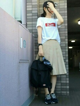 ゅ♩.◦さんの「super 30/_天竺 ロゴプリント半袖Teeシャツ(SEVENDAYS=SUNDAY)」を使ったコーディネート