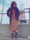 marillacさんの「日替わりセール★マキシ丈ワンピース/レディース プチハイネック リブニットソーマキシワンピース E1442(KOBE LETTUCE|KOBE LETTUCE)」を使ったコーディネート
