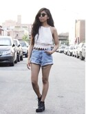 「COPE Square-Neck Eyelet Tank Top(Urban Outfitters)」 using this Phinjo Lhamo looks