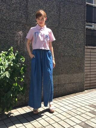 加藤ナナ(加藤ちゃん)さんの「リボンシャツ(merry jenny|メリージェニー)」を使ったコーディネート