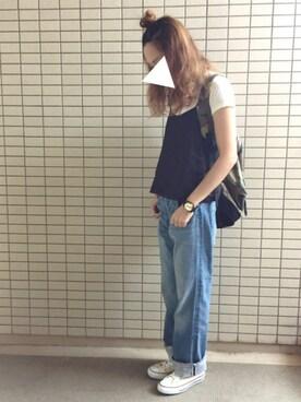 nikoniko☺︎さんの「リネン/Rキャミソール【niko and...】(niko and...)」を使ったコーディネート