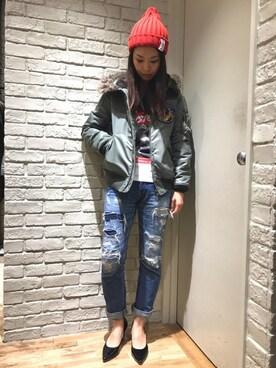HYSTERIC GLAMOUR横浜ジョイナス店|kimuさんの「プリマロフトエアフォース フーデッドJK(HYSTERIC GLAMOUR)」を使ったコーディネート