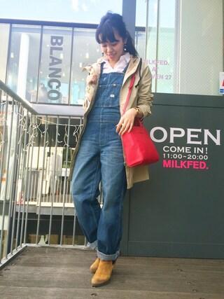 猪股聖子さんの「MILKFEDxLee OVERALL (デニム/オーバーオール)(MILKFED. ミルクフェド)」を使ったコーディネート