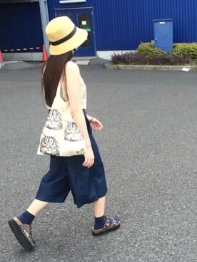 猪股聖子さんの「【mini7月号掲載】DENIM GAUCHO PANTS (ガウチョパンツ/デニム)(MILKFED.)」を使ったコーディネート