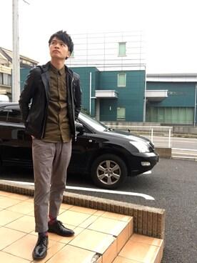 Sato Ryoさんの「PUレザー取り外しフードブルゾン(AZUL by moussy)」を使ったコーディネート