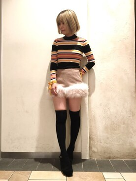 Lily Brown|kurumi kawagoeさんの「マルチボーダープルオーバー(Lily Brown|リリー ブラウン)」を使ったコーディネート