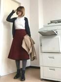 31さんの「WOMEN エクストラファインメリノクルーネックカーディガン(長袖)(ユニクロ|ユニクロ)」を使ったコーディネート