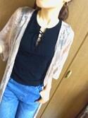 Cー子さんの「【ロングセラー】ハートフープイヤリング【大人気】(phoebe|フィービィー)」を使ったコーディネート