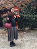 ワカナさんの「シャイニープリーツスカート(MURUA|ムルーア)」を使ったコーディネート