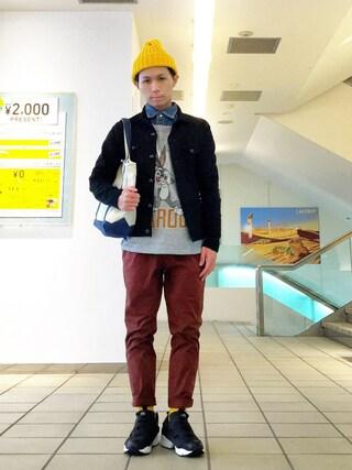 こづ堂さんの「カラーデニムジャケット[VJJ4039](VANQUISH|ヴァンキッシュ)」を使ったコーディネート